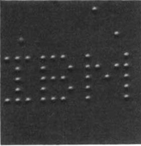 A image showing I B M written in dots
