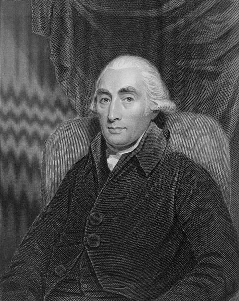 An engraving showing Joseph Black