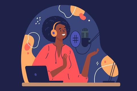 An illustration showing a woman recording a podcast
