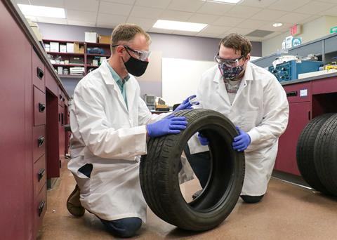 An image showing the use of LIBS on a tire