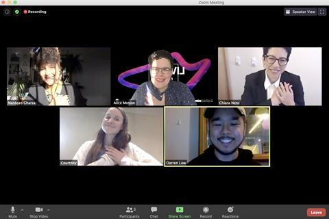 A screenshot from a video call of five people