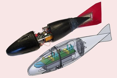 A photo of the robot fish with its black rubber body half-open in the middle to reveal the electronic components inside.  Below is a drawing of the same fish with a transparent outer shell to show the internal components