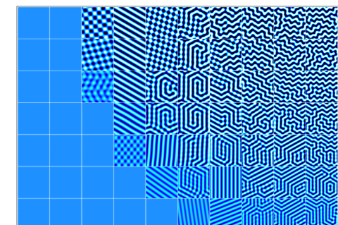 An image showing an array of squares of different blue and white patterns. The patterns towards the bottom left of the image are simple, mostly stripes, whereas the patterns towards the top right become more complicated and labyrinthine