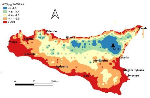 An image showing the outline of Sicily filled with different colors in a heat map style