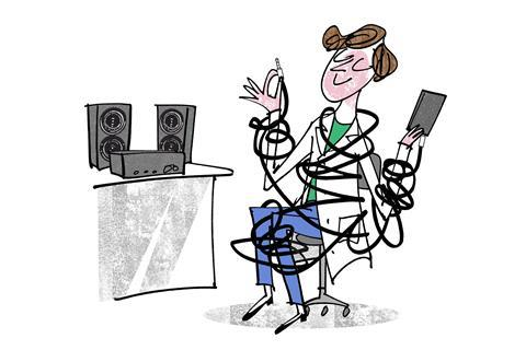 An illustration showing a scientist tangled in cables