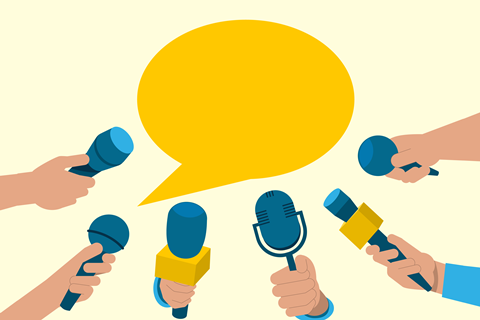 An illustration showing a media interview