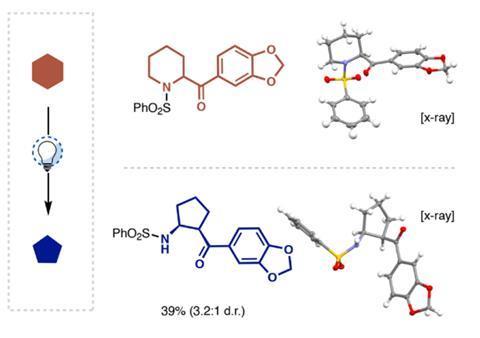 تصویری که ساختار مولکولی دو مشتق متیلون را نشان می دهد ، یکی با حلقه شش عضوی و دیگری با حلقه پنج عضوی