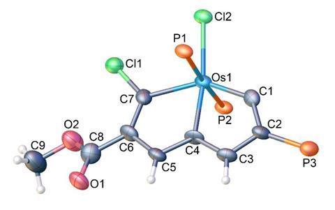تصویری که ساختار توپ و چوب محصول واکنش را بین معطر Möbius و آنالوگ شیمیایی کلر نشان می دهد