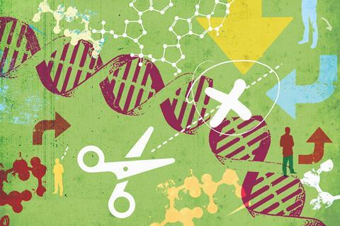An illustration showing DNA editing