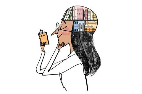 An image showing a woman reading a book;  there is a cross section of her head showing stacks of books