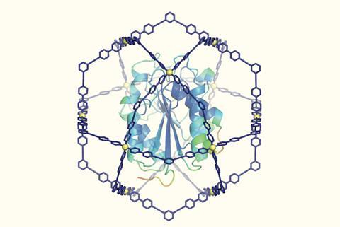 تصویری از ساختار پروتئینی مارپیچ که در داخل ساختار مولکولی مبهم کروی شکل قرار دارد