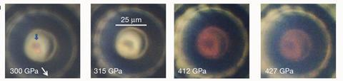 Photographs of the hydrogen sample taken at different stages of compression