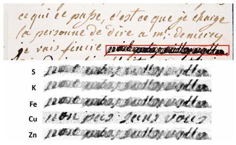 تصویری که قسمتی از نامه دست نویس را نشان می دهد و قسمتی کوتاه با جوهر سیاه روی آن نوشته شده است.  در زیر همان قسمت سانسور شده است اما عناصر مختلف جوهر را نشان می دهد