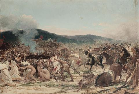 An image showing a painting of the battle as envisioned by a 19th century Italian painter.  It shows a line of people running away and crouching as soldiers on horseback.