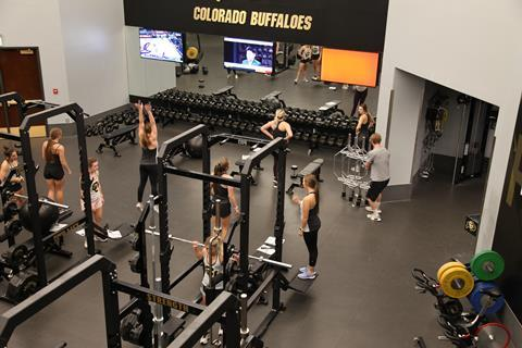 An image showing cheerleaders working out