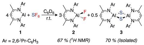 Reaction scheme for SF6 activation by [{(ArNCMe)2CH}Al]