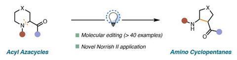 تصویری که یک واکنش ساده با یک آسیال آزاسیکل به عنوان ماده اولیه و یک آمینو سیکلوپنتان به عنوان محصول نشان می دهد