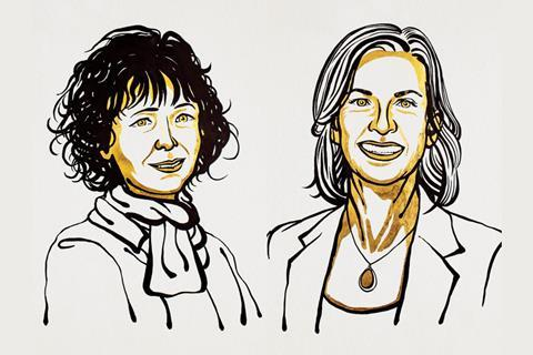 An image showing the 2020 Chemistry Nobel prize laureates