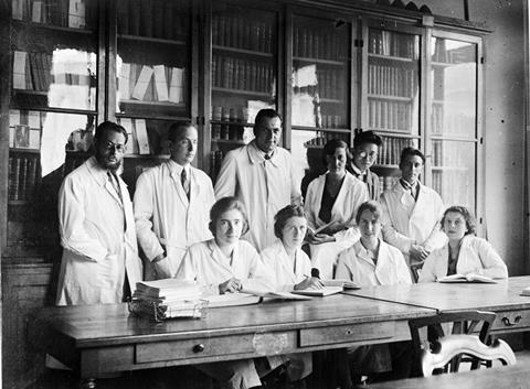 An image showing Marguerite Perey and colleagues