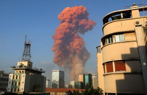 An image showing the pink cloud from the Beirut blast