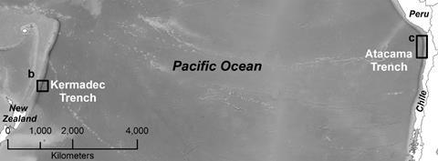 An image showing detailed bathymetric data with specific sampling points in the Kermadec Trench