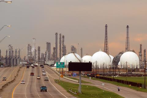 A picture showing a view of the Deer Park Shell Refinery outside of Houston, Texas