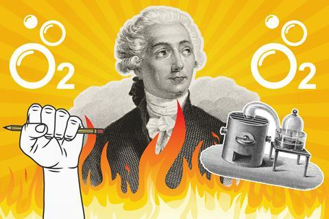 A collage picture showing Lavoisier, his oxygen setup and his revolutionary symbols